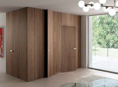 wall cladding and flush wood doors from Ghizzi & Benatti Hidden Doors In Walls, Windows And Doors, Inside Doors, Wooden Walls, Wooden Doors, Invisible Doors, Flush Doors, Interior Architecture, Interior Design