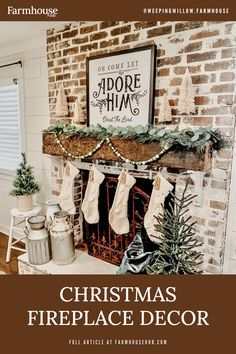 Christmas fireplace - Shiplap walls decked out for Christmas - Farmhousehub