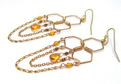 Gold Honeycomb Wire Wrapped earrings with by TransMorphology, $46.00