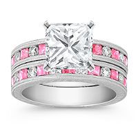 2 Ct Princess Solitaire with chanel set pink princess cut sapphires and round diamonds!
