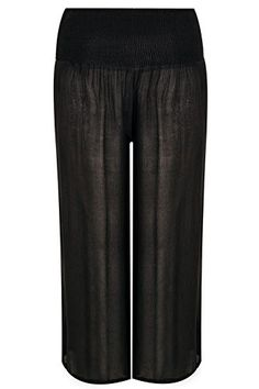 Womens Crinkle Wide Leg Trousers With Ruched Elasticated Waist Panel Plus Size 1 Size 22 Black * Details can be found by clicking on the image-affiliate link. #PalazzoPants