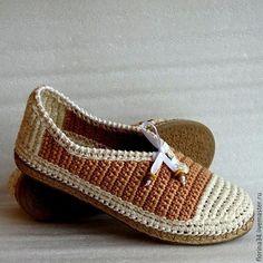 Купить Мокасины вязаные, беж, хлопок, р.40 - обувь ручной работы, женская обувь