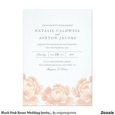 "Blush Pink Roses Wedding Invitation 5"" X 7"" Invitation Card"