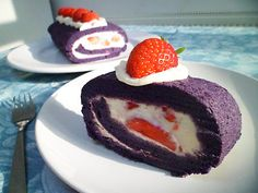 Purple sweet potato roll cake. I LOVED making this, look at the colour! All 100% natural.