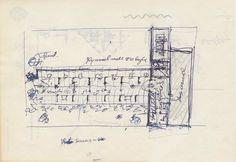 Frank Lloyd Wright #sketch illustrating The Pavilion and Usonian House, 1953…