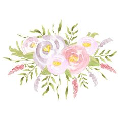 Watercolor Flower Clip Art Roses // Commercial by graphicgoddesses