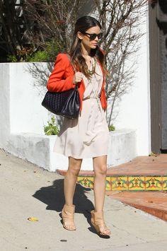 Rachel Bilson open toed boots short orange jacket beige derss sunglasses black bag