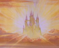 """The Prince's Castle is the place where the Prince takes Snow White to after awakening her from her sleep and where they both lived happily ever after. The castle appears to have thick tall walls that also serve as the base, 3 predominant sections of towers each connected by arch ways. Most of the spires are pink in color and there are 17 seen. The """"castle in the air"""" if you will, seems to face west though the entrance is undefined (as it is for a lot of other Disney castles.)"""