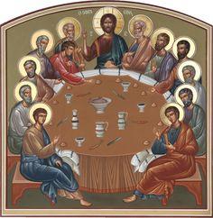 La última cena Religious Images, Religious Icons, Religious Art, Baptism Of Christ, Holy Thursday, Byzantine Icons, Last Supper, Holy Week, Catholic Art