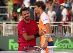 Stan Wawrinka of Switzerland congratulates Alexander Zverev of Germany after his three sets win at Crandon Park Tennis Center on March 28, 2017 in Key Biscayne, Florida.