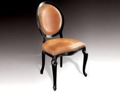Charme & Colors Vichy Italian French Padded Designer Chair Handmade in Black Cherrywood.