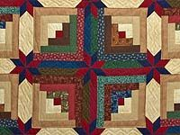 Another Colorado Log Cabin designed by Judy Martin for her book Scrap Quilts, 1985. Probably made by the Amish, who often call it Colorado Star Quilt,