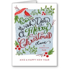 We Wish You A Merry Christmas Hand Lettered Greeting Cards