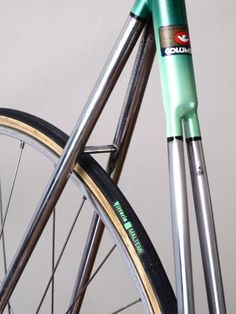 Green Fixie with nice frame detail split seat tube to fit tyre and short chai stay length