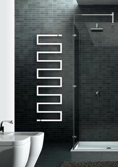 Scirocco Snake One radiating heati element & towel warmer… - Houses interior designs Bathroom Radiators, Bad Inspiration, Bathroom Inspiration, Bathroom Towels, Master Bathroom, Towel Heater, Contemporary Radiators, Bathroom Fixtures
