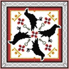 Celtic goddess Morrigans Ravens an Original Wiccan Pagan Cross Stitch Pattern by Crow Haven Cottage Instant Download
