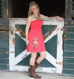 Coral deer hunting tube top dress  www.woodsea.biz