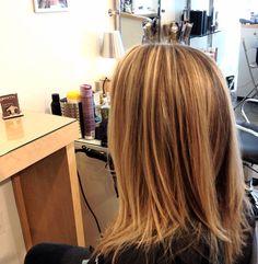Kirsten's golden blonde highlights done at Gleam Hair Studio Miami.