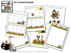 Black Cats, pumpkins and hats decorate the bunco score sheets and decorations of the Black Cat Halloween Bunco Party Kit from Tara Reed Designs.  Perfect for your halloween party or October bunco event!