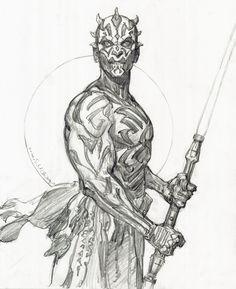 Star Wars, Darth Maul Drawing-Iain McCaig Comic Art