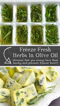 of the BEST kitchen tips and tricks! (cooking and food hacks) Fresh herbs in oil. Lots of awesome kitchen tips here!Fresh herbs in oil. Lots of awesome kitchen tips here! Freezing Fresh Herbs, How To Freeze Herbs, Freezing Fruit, Good Food, Yummy Food, Cooking Recipes, Healthy Recipes, Cooking Ideas, Cooking Game