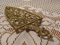 Vintage Brass Iron Stand Trivet - Solid Brass Trivet  -  14-0687 by BubbiesMemories on Etsy