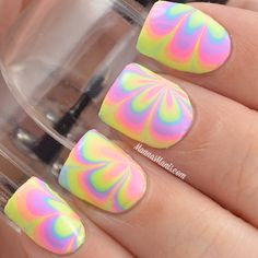 Dry watermarble using Top Shelf Lacquer's Adult Soda Shoppe Collection.
