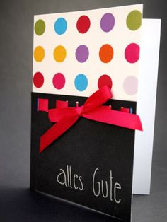 Alles Gute, Happy Birthday, All the best, handmade Birthday card, back, dots, red, scarlet