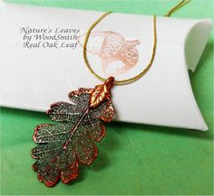 Real Oak Leaf Necklace, Iridescent Copper, Natures Leaves Jewelry Real Leaf Jewelry. $12.95, via Etsy.