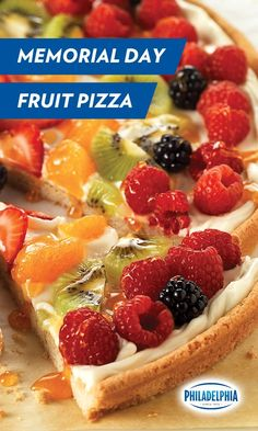 Stars, stripes and scrumptious. Celebrate Memorial Day by bringing this delicious Fruit Pizza to your party. Made with sweet strawberry slices, raspberries, kiwi, blackberries, and creamy, cool Philadelphia Cream Cheese.