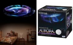 Homestar Aurora Alaska Night Sky Home Planetarium - projections include breathtaking views from the Alaskan night sky in December. With a majestic 10,000 stars to enjoy, this quality home optical planetarium features three projection units - Sunset, Stars or Aurora.