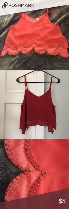 Forever 21 Scalloped Edge Crop Top Pretty Forever 21 cami/ crop top. Nice burnt orange color with delicate beading detail along bottom, front and back. All beading is intact. So good with high waisted jeans or shorts! Forever 21 Tops Crop Tops