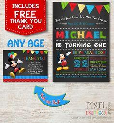 MICKEY MOUSE INVITATION Birthday Invitation by PixelPerfectShoppe