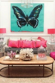 Color pop: turquoise, pink, gray,white walls, then the black in the butterfly My Living Room, Home And Living, Living Spaces, Butterfly Painting, Butterfly Art, Butterflies, Giant Butterfly, Feng Shui, Bachelorette Pad