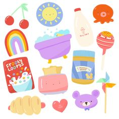Stickers Kawaii, Cute Stickers, Journal Stickers, Planner Stickers, Korean Stickers, Cute Doodles, Aesthetic Stickers, Printable Stickers, Cute Drawings