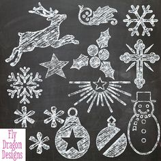 Chalk Clip Art - Christmas - and FREE Chalkboard Backgrounds - Overlays for Scrapbookers and Photographers