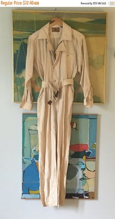 432b610e48a8 Gauze Cream Cotton Jumpsuit • 80s Late 70s Jumpsuit • Unique Boho Jumpsuit  • Hippie Chic • Denim • Pant Suit
