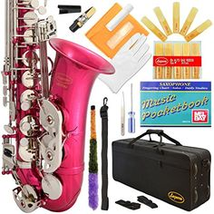 370-Pk - Pink/Silver Keys Eb E Flat Alto Saxophone Sax Lazarro+11 Reeds,Music Pocketbook,Case,Care Kit - 24 Colors With Silver Or Gold Keys, 2015 Amazon Top Rated Saxophones #MusicalInstruments