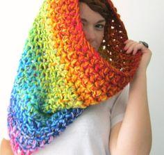 Rainbow Cowl Scarf