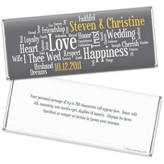 Timeless Vows Wedding Chocolate Favors - Personalized Chocolate Bars