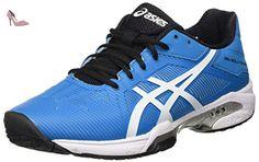 Gel-Solution Speed 3, Chaussures de Tennis Homme, Bleu, Blanc Cassé (White/Silver), 44.5 EUAsics