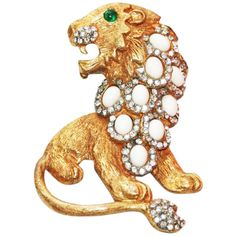 Spectacular KJL Lion Brooch 1960 | From a unique collection of vintage brooches at https://www.1stdibs.com/jewelry/brooches/brooches/