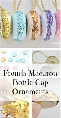 Upcycle some old bottle caps into fun French macaron ornaments. They are also really cute hanging off of some ribbon on your holiday gifts.