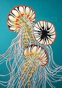 Jellyfish Art Print - 8x10- jelly fish octopus squid sea creature animal ocean sea blue teal painting orange on Etsy, $15.00