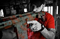 More MAD Dragon Camo on a Grey Ghost Precision Specter Heavy in .308. We did this one in MAD Black, MAD Red and Tungsten. For more projects visit www.madcustomcoating.com.