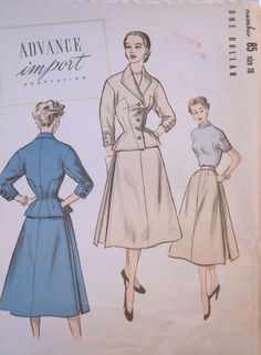 SCARCE 1940's-Advance Import Pattern #85-Suit-Jacket-Skirt-Sz 16-Factory Folded