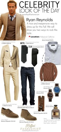 Oufit idea by Ryan Reynolds. This is an Inexpensive way to dress up for this fall. We will show you two ways to rock this style.