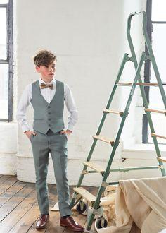 Shop for boys sage green waistcoat suit 'Flint' at Roco. Kids Wedding Suits, Wedding With Kids, Stylish Boy Clothes, Stylish Boys, Burgundy Suit, Sage Green Wedding, Green Suit, Kids Suits, Crisp White Shirt