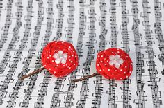 Red and White Polka Dot Fabric Flower Bobby by TheLavenderLounge, $6.00