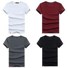 Mens Shorts Sleeve Undershirt Shirts Men Slim Men's Casual T Shirt White Black #UndershirtsMen #BasicTee